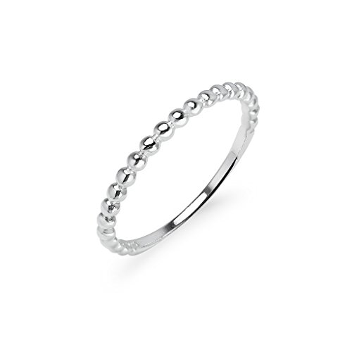 Beaded Ring Sterling Silver Wedding Band For Women Size 8 - Men's Beaded Rings
