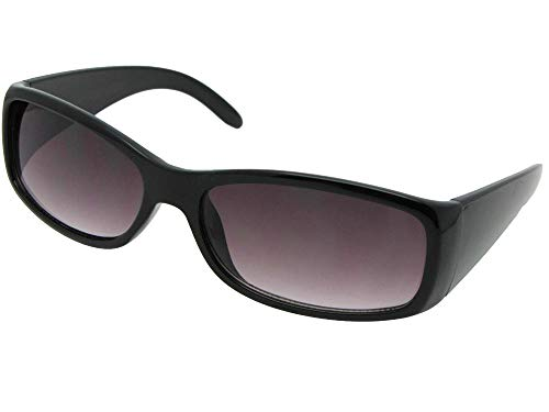 Style R19 Full Lens Reading Sunglasses With Sunglass Rage Pouch (Black Frame-Gray Lenses, 3.00) ()