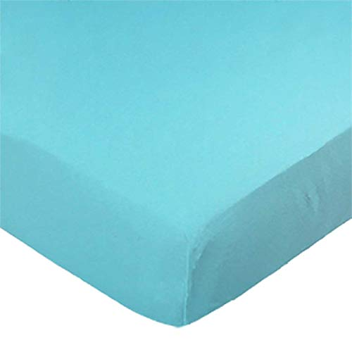 SheetWorld Fitted 100% Cotton Jersey Pack N Play Sheet Fits Graco Square Playard 36 x 36, Solid Aqua, Made In USA