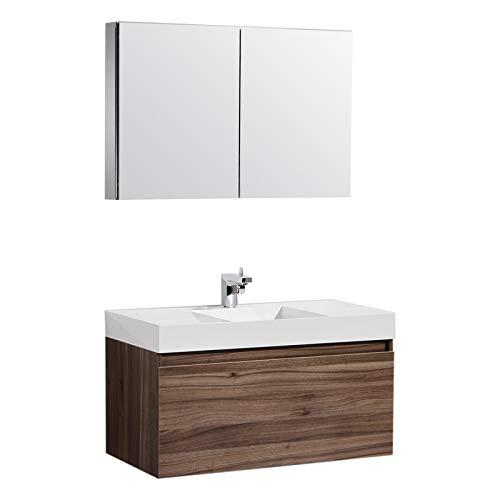 (Aquamoon Venice Modern Bathroom Vanity - Infinity Bathroom Sink - Comes w/Medicine Cabinet and FCUBIC01 Chrome Faucet (39