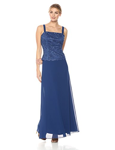 Emma Street Women's 2 Piece Beaded Jacket and Gown, Sapphire, 14