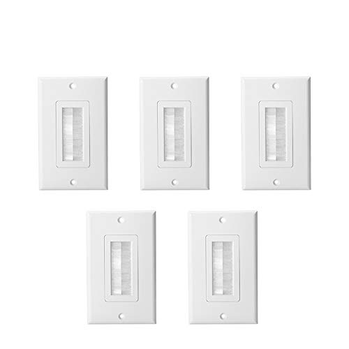 (HONGYE 5-Pack Single Brush Wall Plate, Cable Pass Through Insert Switch Device Mount Decorative Wall Plate for Home Installations HDTV HDMI Home Theater Systems (White))
