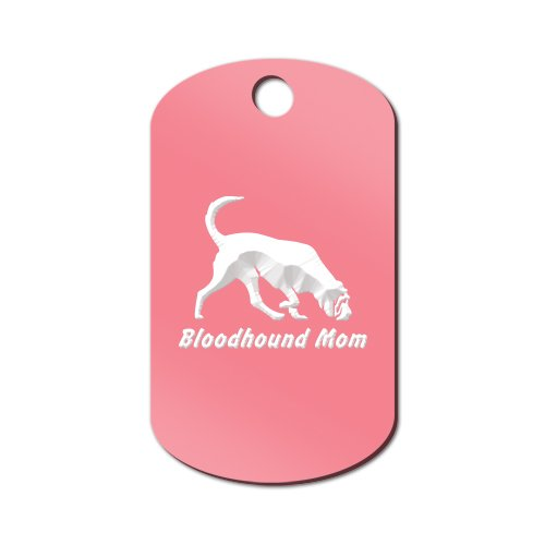 Bloodhound Mom Engraved Keychain / GI Tag Mister Petlife blood hound Pink