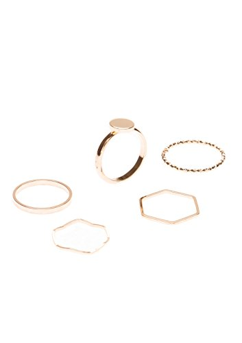 Minimalist Ring Set in Gold | 5 Stackable Rings Geometric Rings Twisted Ring Band Ring