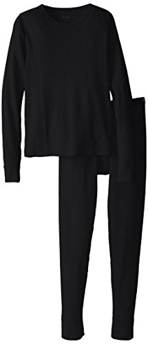 Black Set Rub (Hanes Big Boys' Thermal Underwear Set, Black, Small/6-8)