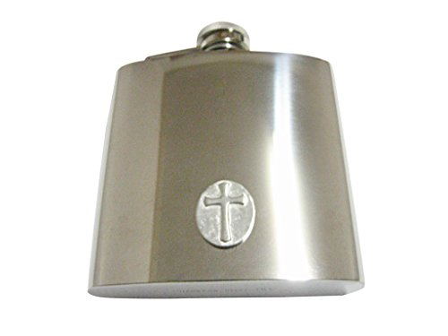 (Oval Religious Cross 6 Oz. Stainless Steel Flask)