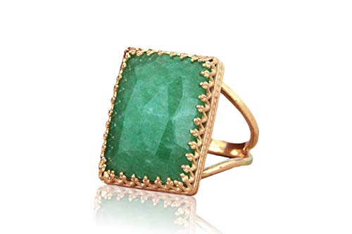 (Stunning Rose Gold Ring by Anemone Jewelry - 13x18mm Green Jade in 14k Rose Gold-filled Ring Band - Jade Ring Handcrafted by Artisans - Statement Rings for Occasion or Everyday Wear - Free Gift Box)