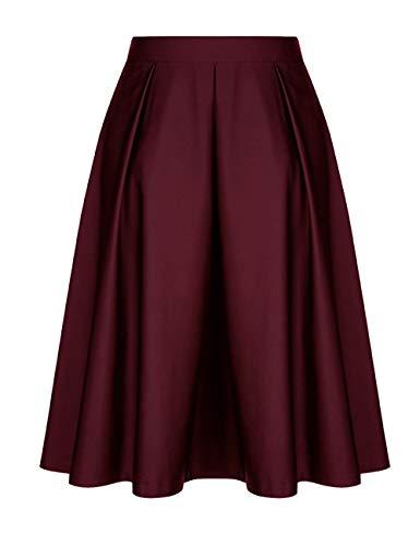t Genou Jupe red Zhuhaijq Pliss Longueur Ceinture du Mode avec Haute Midi Femmes Dames Taille Jupes Evases Elastique qPqEcUH