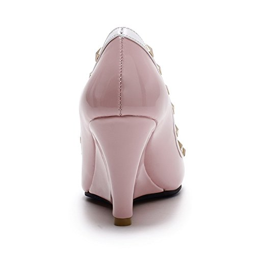 Leather Pull Pointed Patent Shoes Women's Heels Pink Toe Pumps on Closed High WeenFashion qOa4wE81
