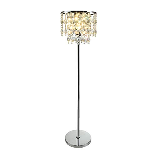 Hsyile Lighting KU300190 Simple Creative Postmodern Luxury Crystal Floor Lamp for Study,Room Dressing Room,Living Room,Bedroom,Office,Chrome Finish,3 Lights