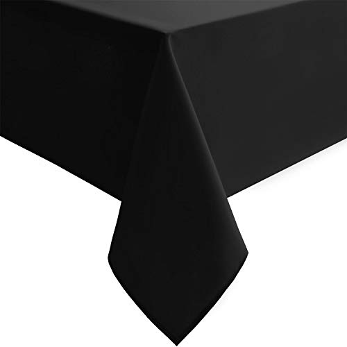 Hiasan Rectangle Tablecloth - Stain Resistant, Wrinkle Resistant and Spillproof Restaurant Washable Polyester Table Cloth, 54 x 80 inch, Black