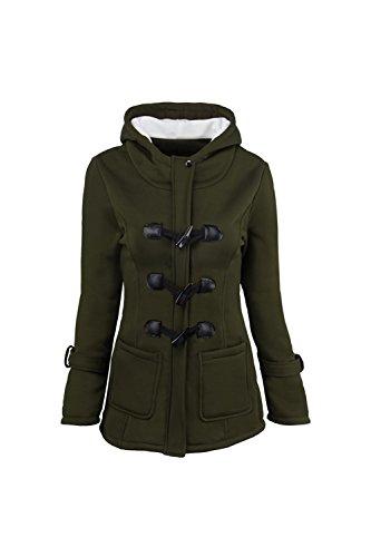 [해외]여성 플러스 사이즈 가을 겨울 캐주얼 버튼 아래로 긴 소매 양털 후드 자켓 Outcoat/Women Plus Size Autumn Winter Casual Button Down Long Sleeve Fleece Hooded Jacket Outcoat