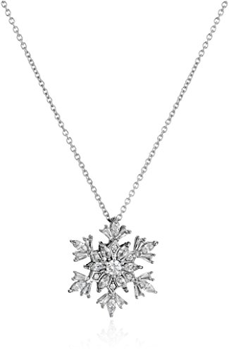 Platinum Plated Sterling Silver Snowflake Pendant Necklace set with Swarovski Zirconia (1.5 (Snowflake Necklace)