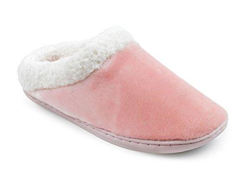 Ladies SlumberzzZ de espuma viscoelástica con Silky microduede forro polar Mule Zapatillas Rosa