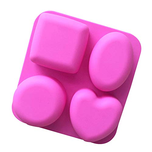Cake Stencils, 4 Cavity Square Round Heart Oval Shapes Soap Mold Handmade Soap Silicone Cake Chocolate Mold DIY Decoration Tool,4Pcs