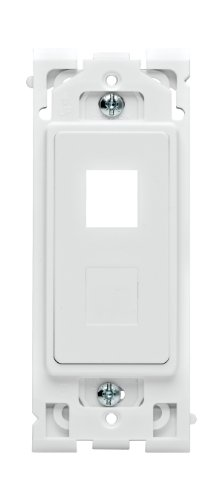 Screwless Snap Wall Plate - Leviton RE640-WW Renu QuickPort 2-Port Insert with Blank Adapter, White on White