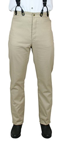 Historical Emporium Men's High Waist 100% Cotton Twill Trousers 30 Khaki (Trouser Twill Cotton)