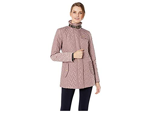 Cole Haan Women's Essential Quilted Zip Front Jacket with Faux Leather Collar Belt and Piping Details Mauve Large