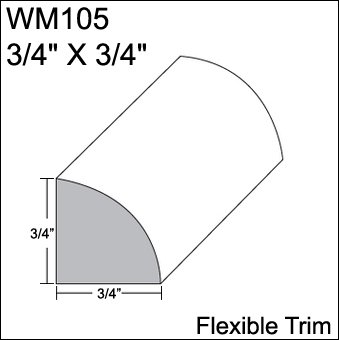 "Flexible Moulding - Flexible Quarter Round Moulding - WM105 - 3/4"" X 3/4"" - 12' Straight - Flexible Trim from Resinart East, Inc"