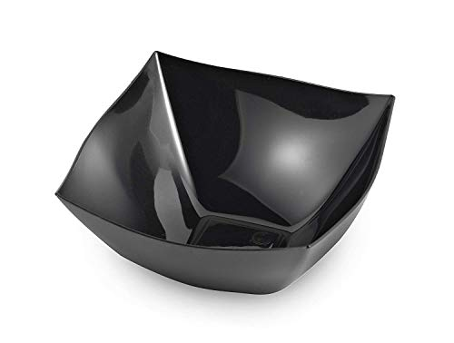 Zappy 8 Ounce Square Black Plastic Serving Bowls Heavyweight Disposable Condiment Bowl, Candy Bowl, Dessert Bowls, 8 Black Bowls | Perfec Salad Bowl, Rice Bowl, Sugar Bowl, or Fruit Bowl for cut fruit