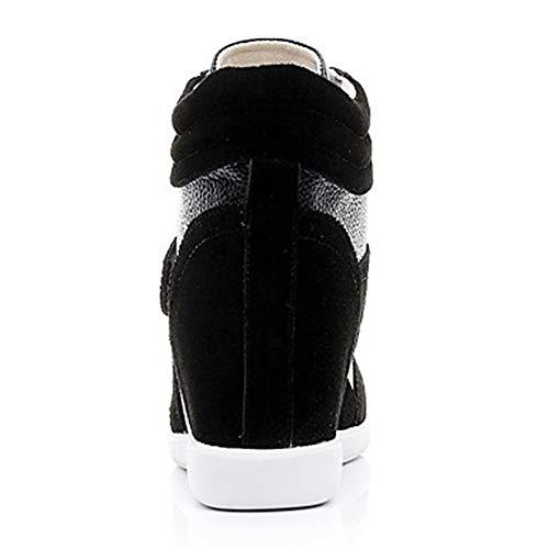 TTSHOES Tacón Blanco EU36 Black Confort CN36 Dedo Rosado Zapatillas Deporte Cuero US6 De UK4 Otoño Invierno Botas Marrón Mujer Redondo Y Moda Cuña De Zapatos rH7xqwrB