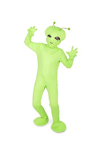 Alien Bodysuit Costume - Halloween Kids Full Body Suit, Mask, Gloves, Medium