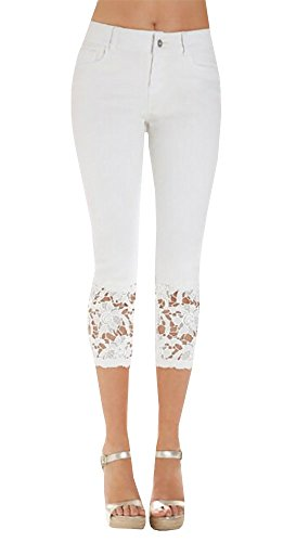 Women's Crohet Skinny Stretch Capri Jeans with Lace Trim