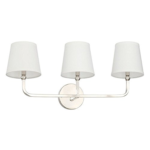 Capital Lighting 119331PN-674 Dawson - Three Light Bath Vanity, Polished Nickel Finish with White Fabric Stay Straight Shade