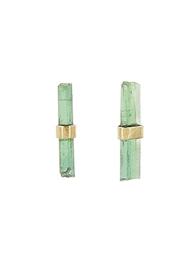 Melissa Joy Manning Limited Edition Gold Green-Tourmaline Stick Post - Melissa Earrings Manning Joy Aquamarine