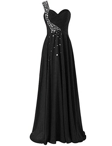 JAEDEN Un hombro Vestidos de baile Largo Gasa Vestido de noche Vestido de la dama de honor Negro