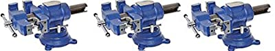 """Yost Vises 750-DI 5"""" Heavy-Duty Multi-Jaw Rotating Combination Pipe and Bench Vise with 360-Degree Swivel Base and Head"""