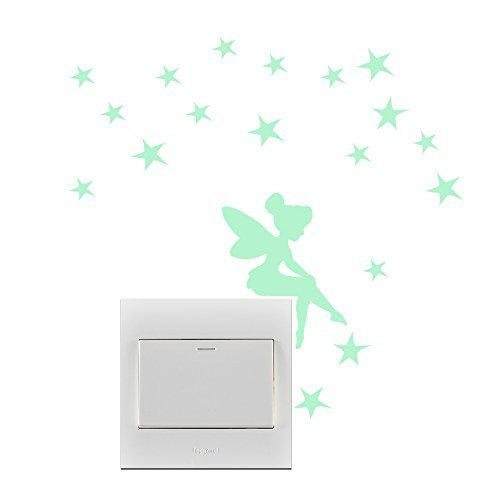 Amaonm 5pcs Removable Vinyl Angel Princess Stras Glow in The Dark Light Switch Wall Stickers Murals Wall Decals for Kids Bedroom Room Children's Playroom Study Room Classroom Offices Wall Decorations