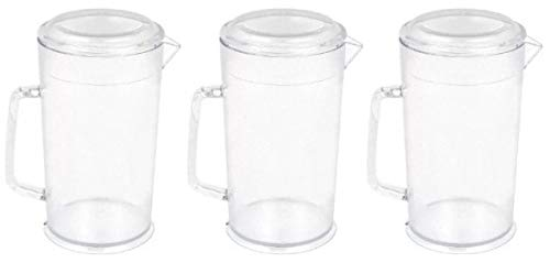Cambro PC64CW 64 oz Capacity, Camwear Clear Polycarbonate Covered Pitcher - Pack of 3