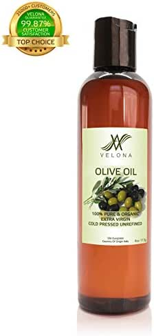 100% Organic Olive Oil by Velona | All Natural Clear Carrier Oil for Cooking and Face, Hair, Body & Skin Care | Extra Virgin, UNREFINED | Size: 4 OZ