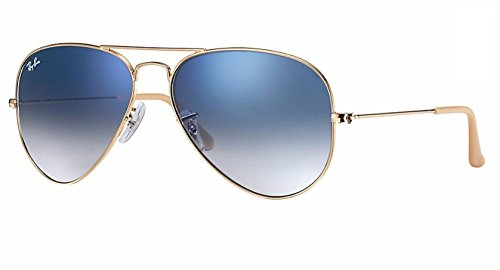 Ray Ban RB3025 001/3F 55M Gold/Light Blue Gradient Aviator (Sunglasses Luxury Gold)