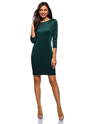 6e00n Fermeture Robe Vert Moulante oodji Ultra Femme avec clair xqg6RfH
