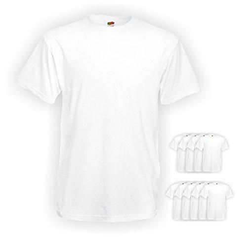 10 Stück Fruit of the Loom Heavy Cotton T-Shirts in Weiss, Grösse XXL