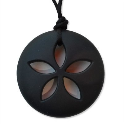 Sand Dollar Teething Necklace by Zen Rocks - a Stylish New Twist to Teething (Onyx) by Eyla's