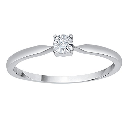 KATARINA Diamond Solitaire Promise Ring in 14K White Gold (1/20 cttw, G-H, VS2-SI1) (Si1 Round Fine Diamond Solitaire)