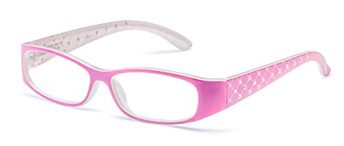 Specs Fashionable Pink Reading Glasses Clear Vision, Sturdy, Comfortable, Attractive Design, Sparkling Crystals on Temples +3.00