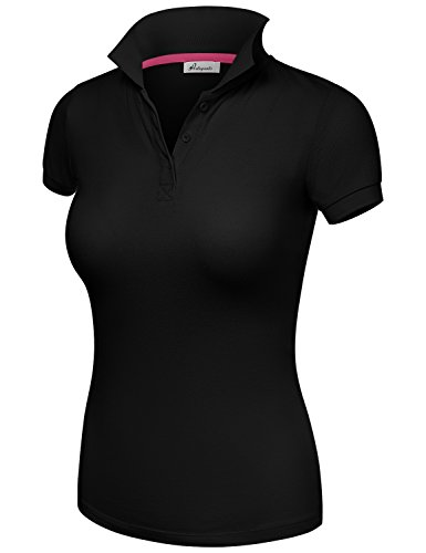Basic Jersey Short Sleeve CVC Pique Polo Shirts Black Large by HATOPANTS (Image #1)
