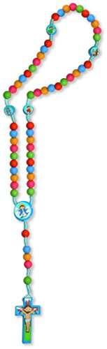 Non Bbs (KIDDIE ROSARY'' WOOD BEADS AND CROSS WITH COLORFUL STICKERS. NON-TOXC. LENGHT, 14 1/2'' ry5)
