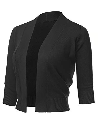 AAMILIFE Women's 3/4 Sleeve Cropped Cardigans Sweaters Jackets Open Front Short Shrugs for Dresses Black (3/4 Sleeve Cropped Jacket)