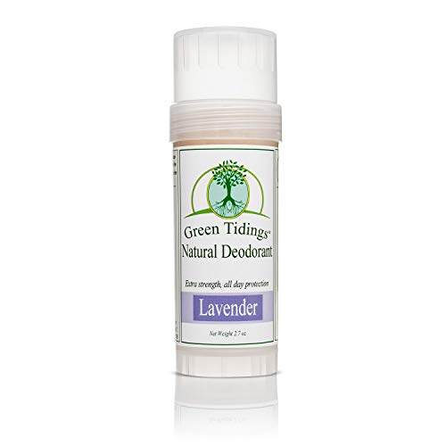 Green Tidings Natural Deodorant - Lavender 2.7oz -*Extra Strength, All Day Protection* (Vegan, Cruelty Free, Aluminum Free, Paraben Free, Non Toxic, Solid Lotion Bar Tube) (Best Deodorant For Female Athletes)