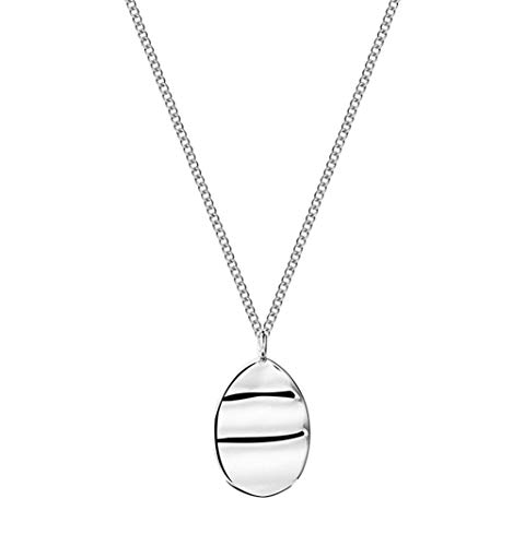 WOkismx S925 Silver Necklace Simple Geometric Irregular Concave Surface Women's European and American College Style Trend Clavicle Chain Exquisite Fashion Pendant Gift with The Best Choice