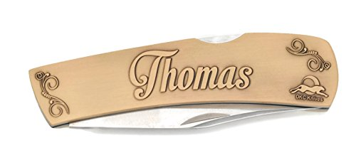 Custom Brass Antique Blade (DKC-1000-B THOMAS Personalized Name Knife Custom Hand Engraved Minted In Antique Brass 4.5 oz 6.75