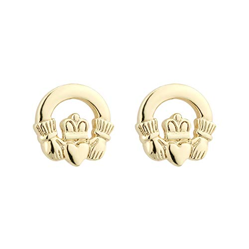 - Claddagh Stud Earrings Irish Gold Plated Made in Ireland
