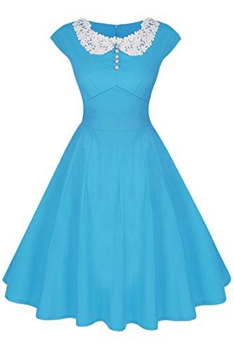 ACEVOG 40s 50s 60s Vintage Retro Swing Rockabilly Picnic Party Dress