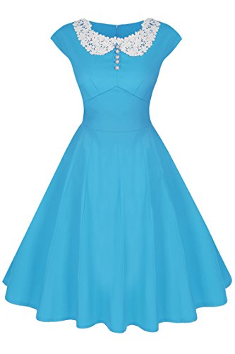 ACEVOG Women's Cap Sleeve Vintage Retro Bridesmaid Party Cocktail Dress, SkyBlue, XX-Large -