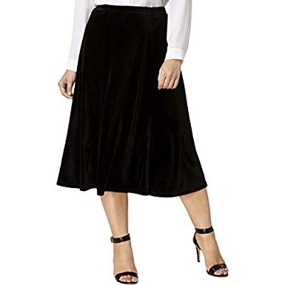 NY Collection Womens Plus Velvet Night Out Midi Skirt